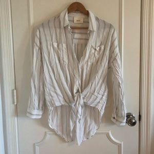 White and Tan Striped Buttondown with Tie Front